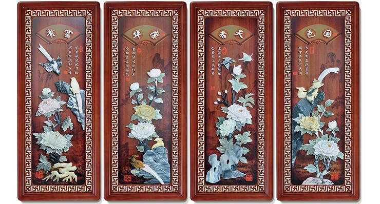 6国色天香荣华富贵(花格框四条屏)110X45cmX4-01