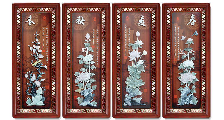 7春夏秋冬(花格框四条屏)110X45cmX4-01