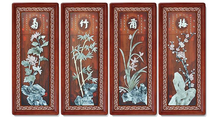 8梅兰竹菊(花格框四条屏)110X45cmX4-01