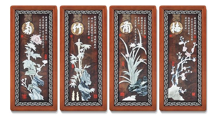 11梅兰竹菊(花格框四条屏)90X40cmX4-01