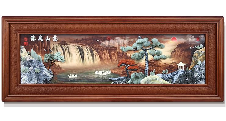 高山飞瀑-新(精雕套框)220X80cm-01
