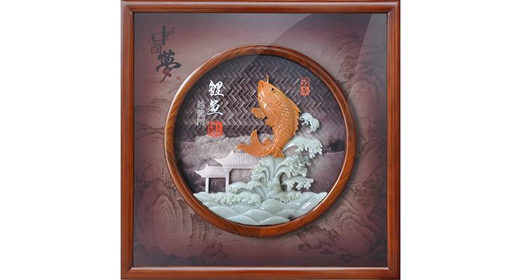 鲤鱼跃龙门(玻璃框)60X60cm