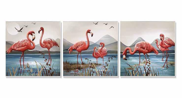 手绘油画-火烈鸟