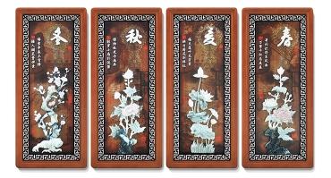 12春夏秋冬(花格框四条屏)90X40cmX4-01