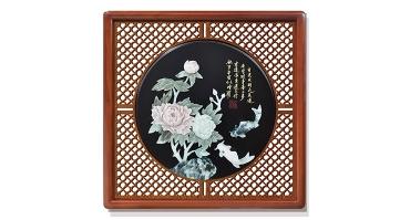 富贵有余(花格框)60X60cm-01