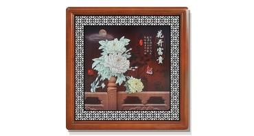 玉雕画-花开富贵(花格框)85X85cm-01