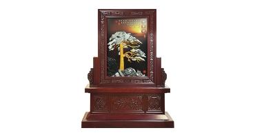 玉雕画-迎客松(坐屏-正面)150X200cm-01